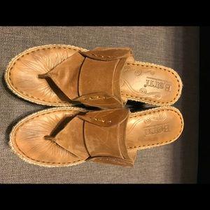 BORN flip flops, leather upper